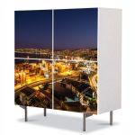 Comoda cu 4 Usi Art Work Urban Orase Valparaiso Noaptea, 84 x 84 cm