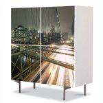 Comoda cu 4 Usi Art Work Urban Orase Pe podul Brooklyn in New York, 84 x 84 cm