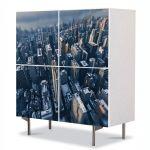 Comoda cu 4 Usi Art Work Urban Orase Orasul New York, 84 x 84 cm