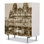 Comoda cu 4 Usi Art Work Urban Orase Piata palatului regal Bucuresti, 84 x 84 cm