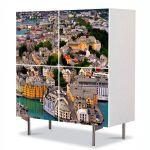 Comoda cu 4 Usi Art Work Urban Orase Port in Norvegia, 84 x 84 cm