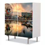 Comoda cu 4 Usi Art Work Urban Orase Roata in California SUA, 84 x 84 cm