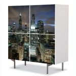 Comoda cu 4 Usi Art Work Urban Orase Chicago USA, 84 x 84 cm