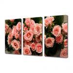 Set Tablouri Multicanvas 3 Piese Flori Muguri de trandafiri roz