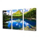 Set Tablouri Multicanvas 3 Piese Flori Lac montan