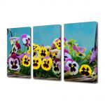 Set Tablouri Multicanvas 3 Piese Flori Flori in cos