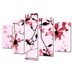 Set Tablouri Multicanvas 5 Piese Flori Crengute de magnolie