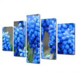 Set Tablouri Multicanvas 5 Piese Flori Flori albastre Muscari