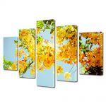 Set Tablouri Multicanvas 5 Piese Flori Multe flori galbene