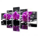Set Tablouri Multicanvas 5 Piese Flori Orhidee pe apa