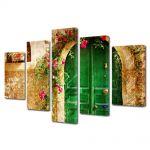 Set Tablouri Multicanvas 5 Piese Flori Poarta de flori