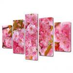 Set Tablouri Multicanvas 5 Piese Flori Copac Sakura japonez inflorit