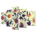 Set Tablouri Multicanvas 5 Piese Flori Flori de musetel