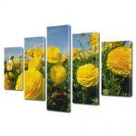 Set Tablouri Multicanvas 5 Piese Flori Flori galbene