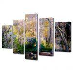 Set Tablouri Multicanvas 5 Piese Flori Copaci infloriti pe malul lacului