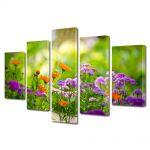 Set Tablouri Multicanvas 5 Piese Flori Flori si albinute