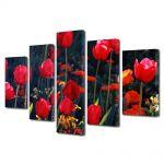 Set Tablouri Multicanvas 5 Piese Flori Lalele in gradina