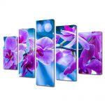Set Tablouri Multicanvas 5 Piese Flori Violet