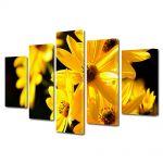 Set Tablouri Multicanvas 5 Piese Flori Floricele galbene