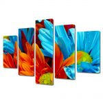 Set Tablouri Multicanvas 5 Piese Flori Flori cu colorit superb