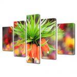 Set Tablouri Multicanvas 5 Piese Flori Floare Exotica Bokeh