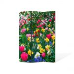 Paravan de Camera ArtDeco din 3 Panouri Peisaj Flori inghesuite 105 x 150 cm