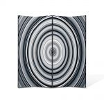 Paravan de Camera ArtDeco din 4 Panouri Abstract Decorativ Cercuri B&W 140 x 180 cm