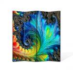 Paravan de Camera ArtDeco din 4 Panouri Abstract Decorativ Pana colorata 140 x 180 cm