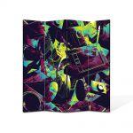 Paravan de Camera ArtDeco din 4 Panouri Abstract Decorativ Culori vintage 140 x 180 cm