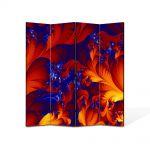 Paravan de Camera ArtDeco din 4 Panouri Abstract Decorativ Petale 140 x 150 cm