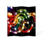 Paravan de Camera ArtDeco din 4 Panouri Abstract Decorativ Sirag de lumini 140 x 150 cm