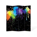 Paravan de Camera ArtDeco din 4 Panouri Abstract Decorativ Pete colorate 140 x 180 cm