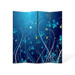Paravan de Camera ArtDeco din 4 Panouri Abstract Decorativ Plante abstracte 140 x 150 cm