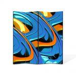 Paravan de Camera ArtDeco din 4 Panouri Abstract Decorativ Albastru si portocaliu 140 x 180 cm