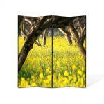 Paravan de Camera ArtDeco din 4 Panouri Peisaj Floricele sub copaci 140 x 180 cm