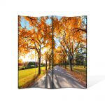 Paravan de Camera ArtDeco din 4 Panouri Peisaj Umbre de copaci 105 x 150 cm