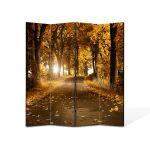 Paravan de Camera ArtDeco din 4 Panouri Peisaj Drum de toamna 105 x 150 cm