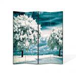 Paravan de Camera ArtDeco din 4 Panouri Peisaj Copaci albi 105 x 150 cm