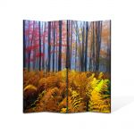 Paravan de Camera ArtDeco din 4 Panouri Peisaj Veriga in padure 105 x 150 cm