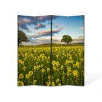 Paravan de Camera ArtDeco din 4 Panouri Peisaj Flori si copaci 105 x 150 cm