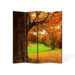 Paravan de Camera ArtDeco din 4 Panouri Peisaj Covor aramiu 140 x 180 cm