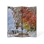 Paravan de Camera ArtDeco din 4 Panouri Peisaj A venit iarna 105 x 150 cm