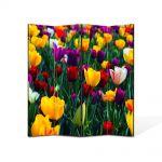 Paravan de Camera ArtDeco din 4 Panouri Peisaj Lalele Colorate 105 x 150 cm