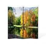 Paravan de Camera ArtDeco din 4 Panouri Peisaj Toamna de pe lac 105 x 150 cm