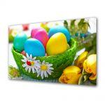 Tablou Canvas Sarbatori Paste Cos verde cu oua si flori