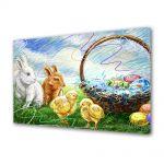 Tablou Canvas Sarbatori Paste Iepurasi, puisori si cosul cu oua colorate
