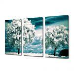 Set Tablouri Multicanvas 3 Piese Peisaj Copaci albi