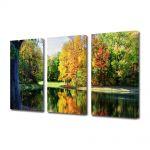 Set Tablouri Multicanvas 3 Piese Peisaj Toamna de pe lac
