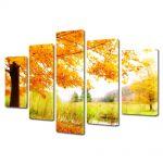 Set Tablouri Multicanvas 5 Piese Peisaj Copac pe malul lacului