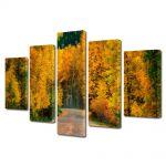 Set Tablouri Multicanvas 5 Piese Peisaj Toamna pe drum